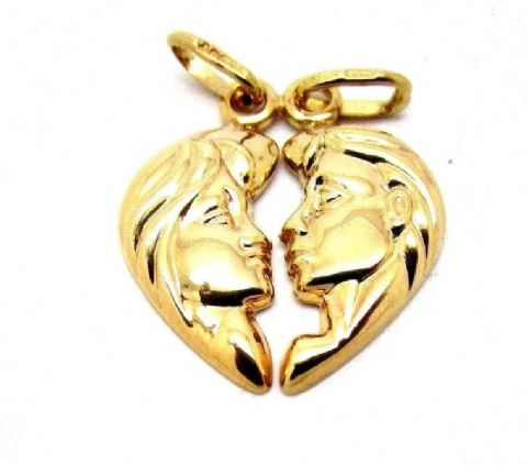 Vintage Hallmarked 9ct Yellow Gold Split Lovers Pendant ( His and Hers )